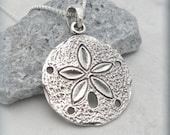 Silver Sand Dollar Necklace Sanddollar Pendant Sterling Silver Beach Necklace Beach Jewelry Ocean Necklace (SN588)