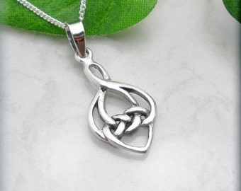 Celtic Knot, Love Knot Necklace, Celtic Jewelry, Irish Jewelry, Sterling Silver Heart, Valentines Day, Friendship Necklace Jewelry (SN773)
