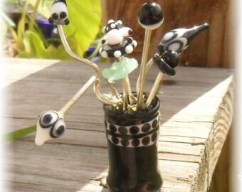 Lampwork Vase Glass Flowers, Black White Artisan Handmade SRA LETEAM Glassymom