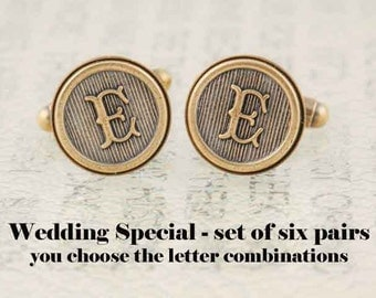 Six Pairs Initial Cufflinks, Wedding Cufflinks, Groomsmens Gifts, Made to Order - Antiqued Brass