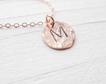 Rose Gold Initial Jewelry Rose Gold Monogram Pendant Rosegold Necklace Hammered Pink Gold Necklace Personalized Gift Circle Charm