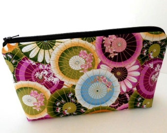 Padded Large Flat Bottom Zipper Pouch Cosmetic Pouch ECO Friendly Cosmetic Bag Plum Mariko