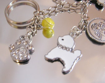 Bichon Frise Dog Key Chain Converts to Bracelet with dog related charms