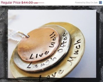 Live Laugh Love Mixed Metal Necklace - Hand Stamped Charms