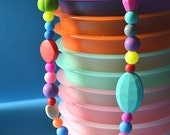 Multiple textured Teething Silicone rainbow bead necklace with FREE SHIPPING-- limited edition