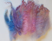 Curly Locks, Cotswold Texel wool fiber, Pink Blue Lavender, 2 oz, Perfect for spinning, felting, Doll hair and Santa beards
