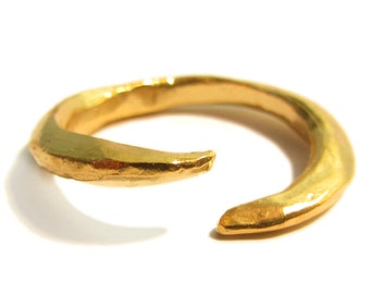 Bague Griffe en argent massif plaque Or 18 ct, bague ouverte pointue doree