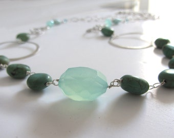 Turquoise, aqua Chalcedony and amazonite silver necklace