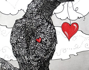 I'll Give You My Heart  crows ravens  hearts Valentines 5x7 giclee print LE