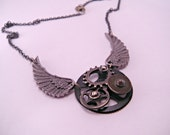 Steampunk Watch Part and Wings Necklace on 18 Inch Chain