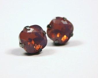 Purple Opal Crystal Stud Earrings Classic Sparkling Cyclamen Aubergine Solitaire Swarovski 10mm Sterling Post & Copper - Women's Jewelry