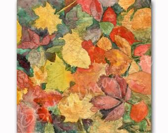 "Leaf Art  | watercolor painting | 12x12"" original art on canvas | orange red earth tones"