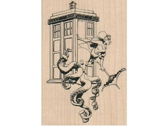 Rubber stamp Dr. Who rubber stamps stamping rubberstamp  by Brian Kesinger Octopus wood, unmounted or cling stamp19251