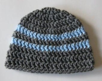 Baby Boy Beanie, Crochet Baby Hat, Newborn Beanie, Baby Newborn Hat, Baby Boy Hat, Grey Blue, Newborn Baby Hat, Newborn Prop