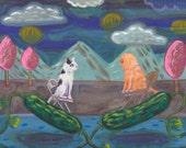 """Picklepartnership original painting on canvaspaper 9"""" x 12"""" OOAK"""