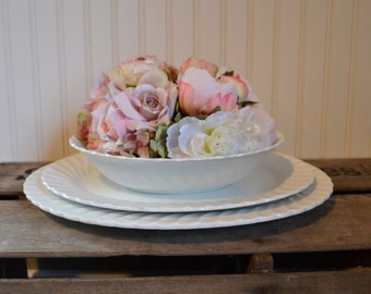 White Ironstone Serving Set (3) - Platters - Serving Bowl - Johnson Bros - Sno White Regency - Royal Hill Vintage