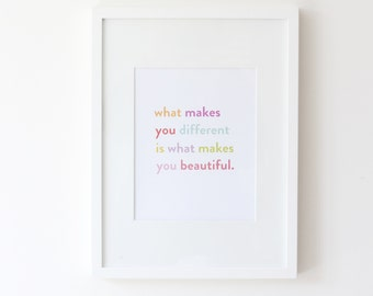 """What Makes You Different makes you beautiful, 8.5"""" x 11"""" Print"""