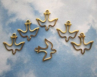 Dove Charms Open Flat Brass Spiritual Jewelry Supplies USA Made on Etsy x 6