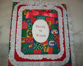 CHRISTMAS PATCHWORK Personalized Fabric Photo Album / Scrapbook
