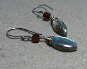 Labradorite Earrings Garnet Earrings Geometric Jewelry Oxidized Sterling Silver Earrings
