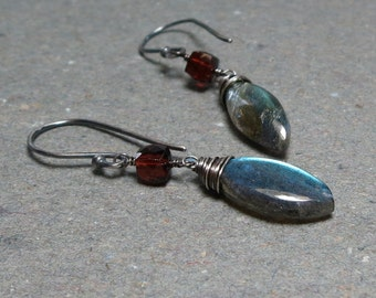 Labradorite Earrings Garnet Geometric Jewelry Oxidized Sterling Silver Earrings January Birthstone Gift for Her