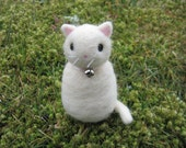 Needle Felted Chubby White Kitty Cat