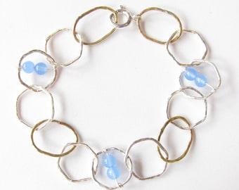 Sterling Silver, Brass and Blue Quartz Stitched Hexagon Bracelet
