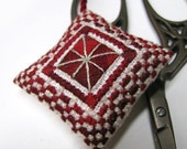 Christmas Snow Scissor Fob Ornament Pin Cushion Completed Beaded Cross Stitch Needlework