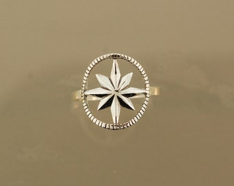 Open Rose Compass Ring