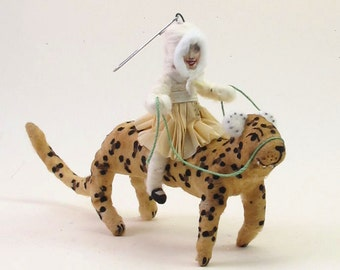 Vintage Inspired Spun Cotton Leopard Rider Figure/Ornament