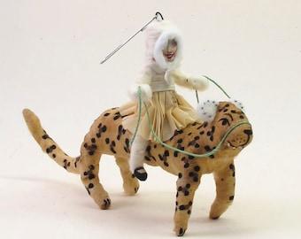 Vintage Inspired Spun Cotton Leopard Rider Figure/Ornament