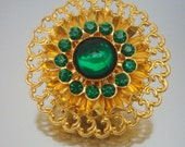 Green Rhinestone Filigree Pin Brooch Vintage Jewelry