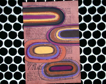 Graphic Circles - Wine Tinted Original Abstract Painting on Antique Book Paper