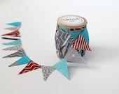Grey and Aqua with Red Wedding Cake Bunting. fabric mini Ribbon. Cake toper and invitation bunting