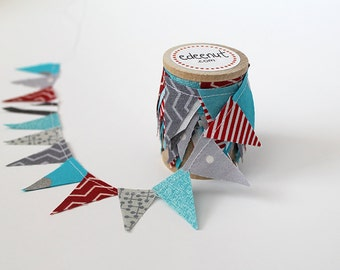 Grey and Aqua with Red Wedding Cake Bunting. fabric mini Ribbon. Cake toper and invitation bunting