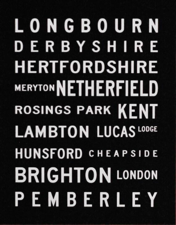 8x10 Pride and Prejudice Locations Typography Screenprint