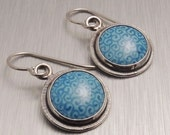 Silver and Enamel Earrings in Blue Swirl