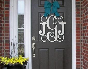 Custom MONOGRAM door hanger / BURLAP bow/ House warming/ Front door wreath/24 inch/ chevron/Initial/wooden/wedding gift/front door decor