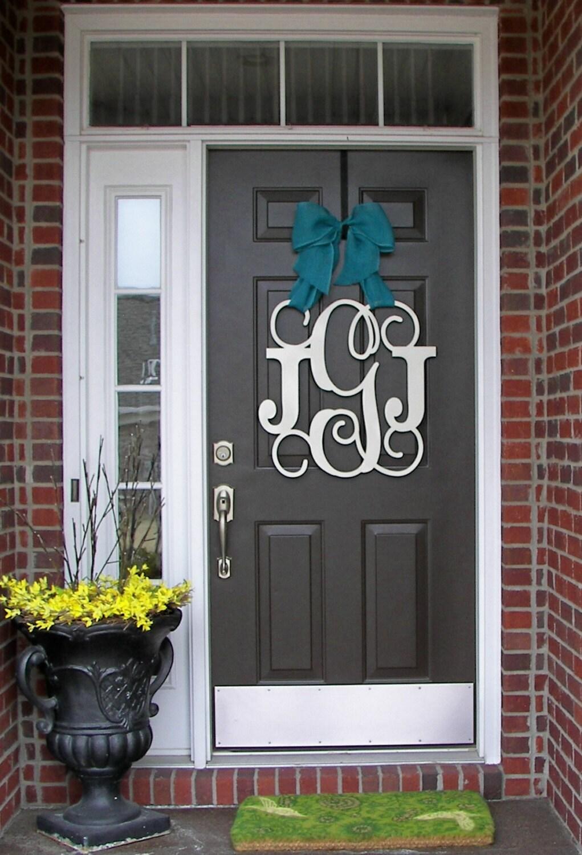 custom monogram door hanger burlap bow house warming front. Black Bedroom Furniture Sets. Home Design Ideas
