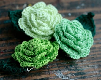 Crocheted Linen Flowers Brooches - set of 3