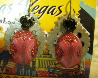 Steampunk Pink Corset Resin Earrings with Black Rose