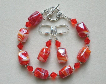 Orange Bracelet Earrings White Stripes Nugget Beads Swarovski Crystal Silver