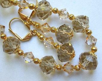 Gold Crystal Bracelet and Earring Set
