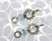 Aquamarine With Bronze Gemstone Steampunk Earrings