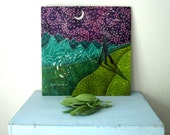 SALE, And Inbetween the Moon and You, valentines day,  wedding gift engagement anniversary, Original Fabric on Wood art
