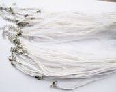 White Adjustable Organza and Cotton Cord Necklaces - With Extender Chain