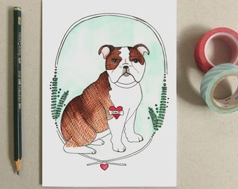 Father's Day Card - Greeting Card - Bulldog Card - Dog Dad Card - English Bulldog Dad Card, Bulldog Illustration - Bulldog with Dad Tattoo