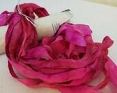 Hand Dyed Silk Ribbon - Fuchsia Ribbon - 6 yards - Pink Silk Ribbon - Lot P1