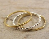 """Silver and Gold Stack Ring Set, """"The Mikey""""  Stack Ring Set, Set of 3 Stacking Rings, Beaded Stack Set, Bridal Gift"""