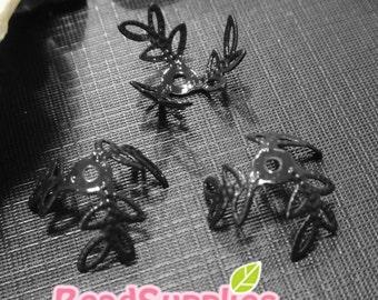 FG-FG-09370A - NIckel free , Petite leaf beadscap, black enameled, 8 pcs